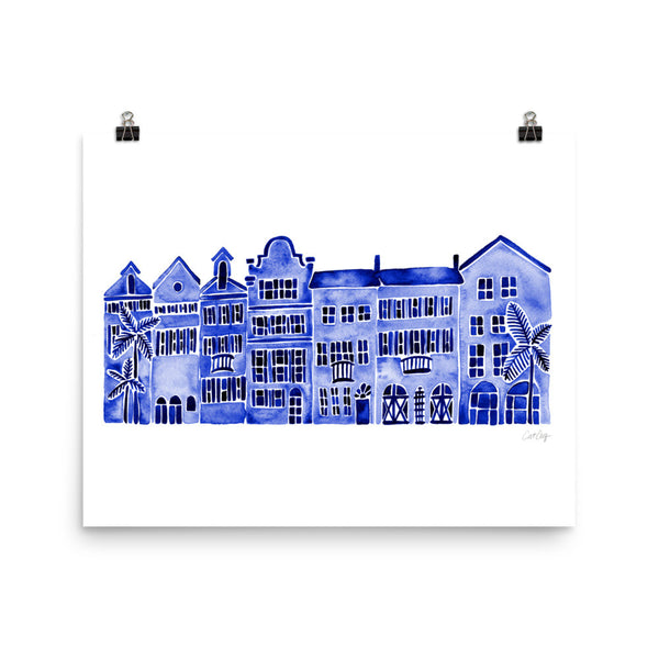 Row of Houses – Navy Palette • Art Print
