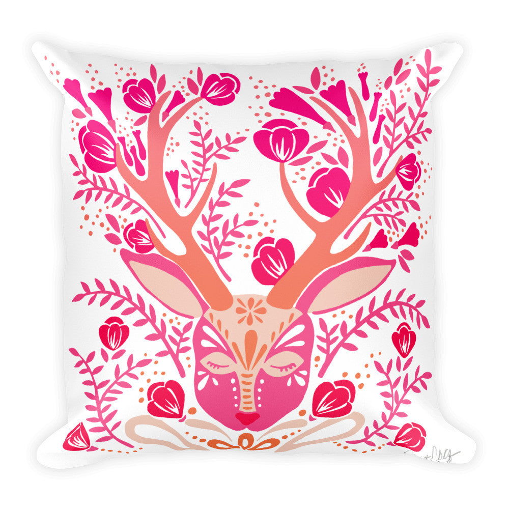 Floral Antlers – Pink Palette  •  Square Pillow