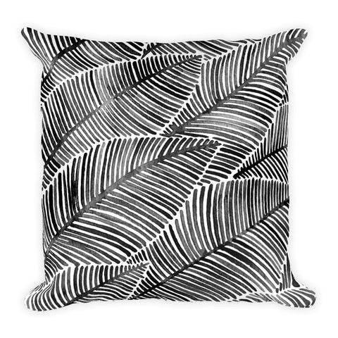 Tropical Leaves – Black Palette  •  Square Pillow