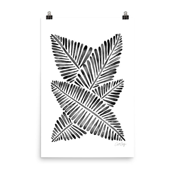 Banana Leaves – Black Palette • Art Print