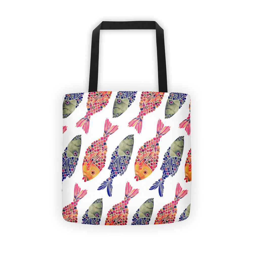Indonesian Fish – Navy & Red Palette  •  Tote Bag