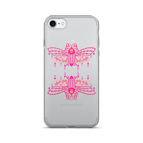 Death's Head Hawkmoth – Pink Ombré Palette Duo • iPhone 7/7 Plus Case (Transparent)