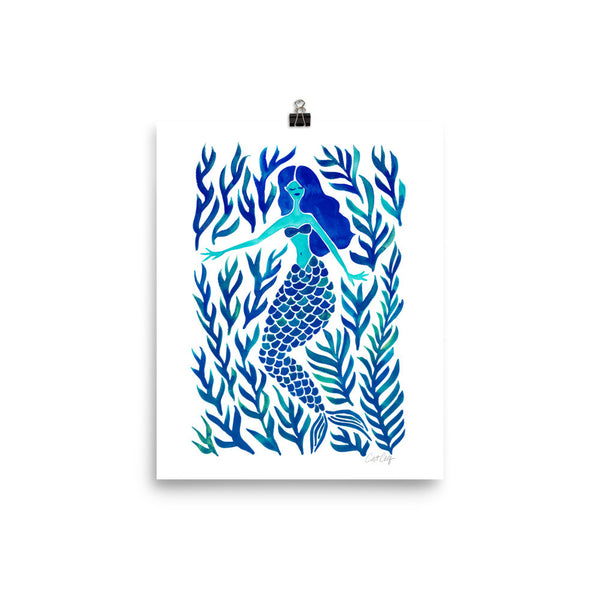 Kelp Forest Mermaid – Navy Palette • Art Print