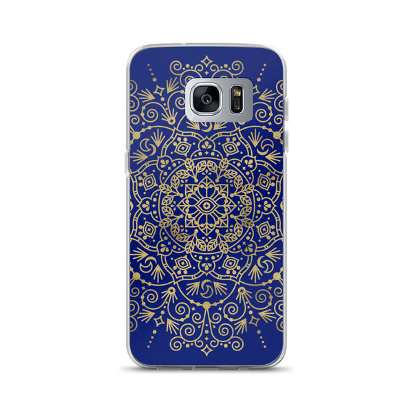 Moroccan Mandala – Gold on Navy • Samsung Case