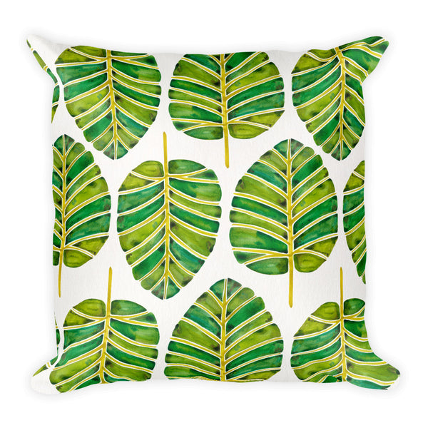 Elephant Ear Alocasia – Green Palette  •  Square Pillow