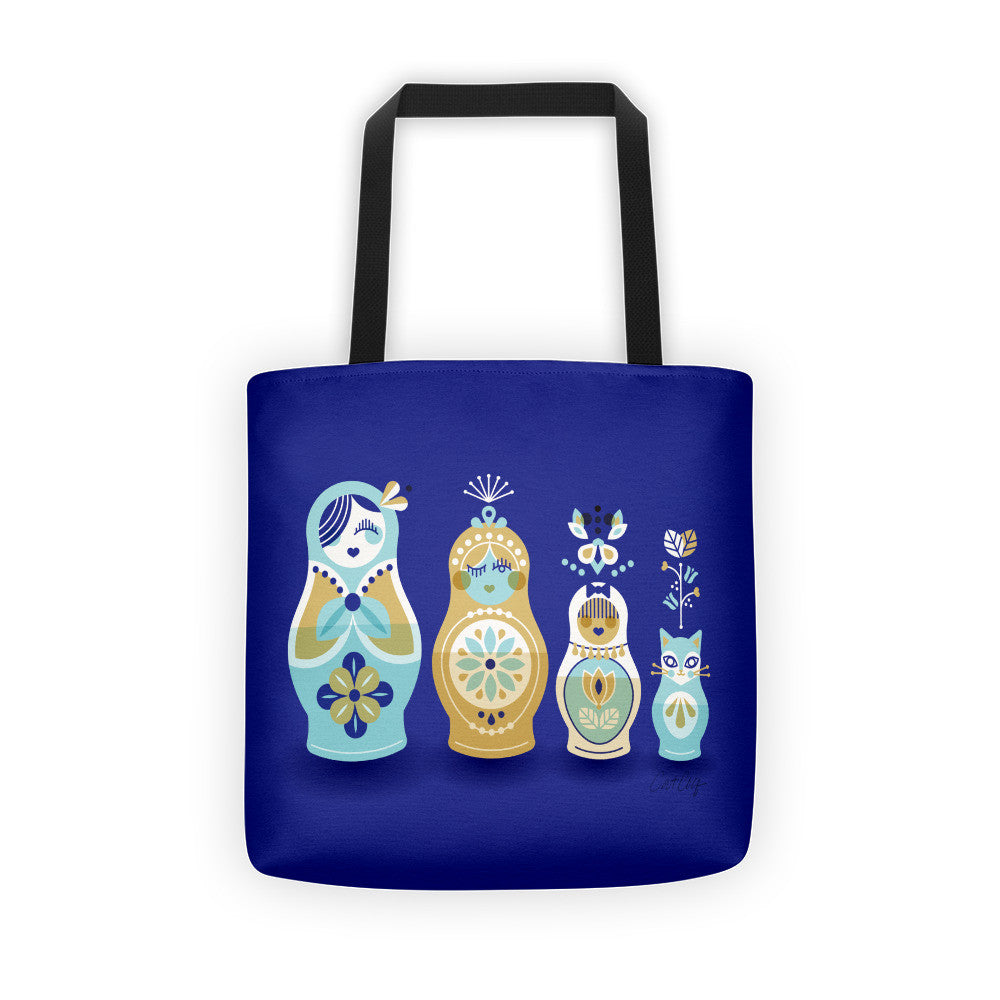 Russian Nesting Dolls – Navy Background  •  Tote Bag