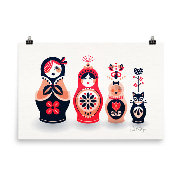 Russian Nesting Dolls – Hot Pink & Navy Palette • Art Print