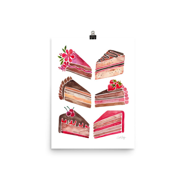 Cake Slices – Pink & Brown Palette • Art Print