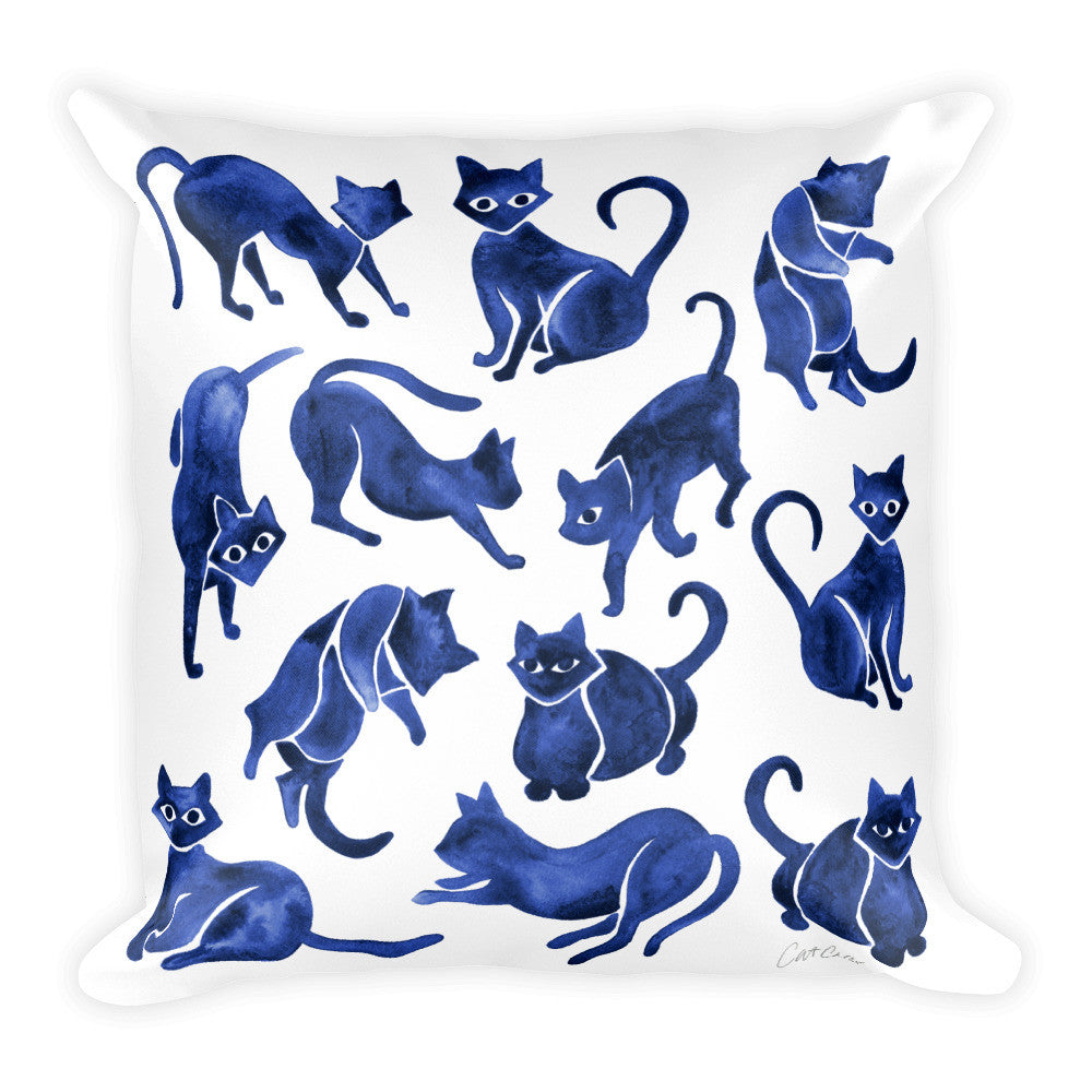 Cat Positions – Navy Palette  •  Square Pillow