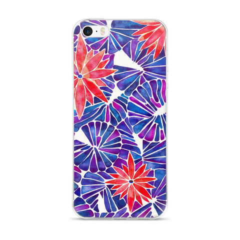Water Lilies – Cherry & Indigo Palette  •  iPhone 5/5s/Se, 6/6s, 6/6s Plus Case