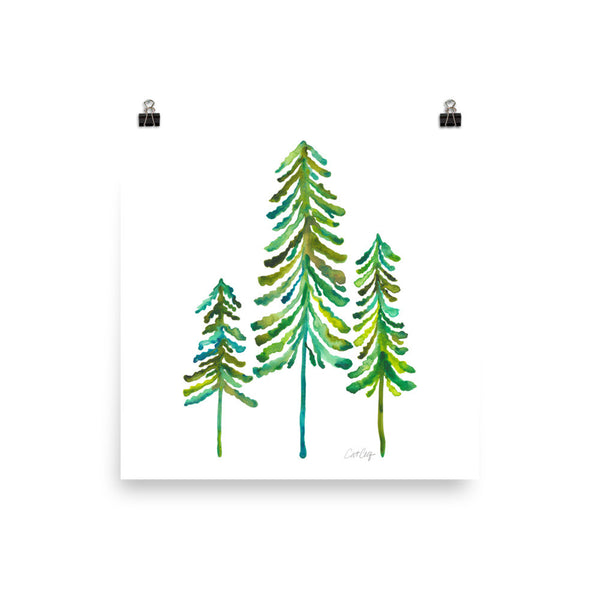 Pine Trees – Green Palette • Art Print