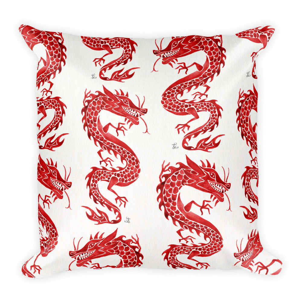 Chinese Dragon – Crimson Palette • Square Pillow
