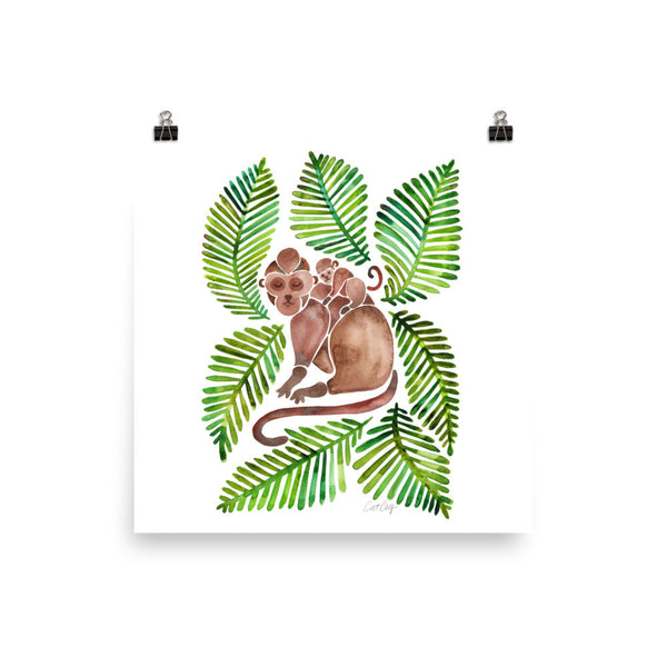 Monkeys – Green Leaves • Art Print