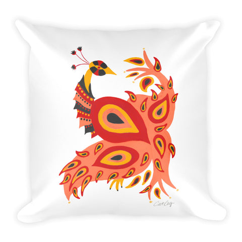 Peacock – Fiery Palette • Square Pillow