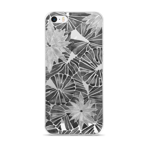 Water Lilies – Black Palette  •  iPhone 5/5s/Se, 6/6s, 6/6s Plus Case (Transparent)