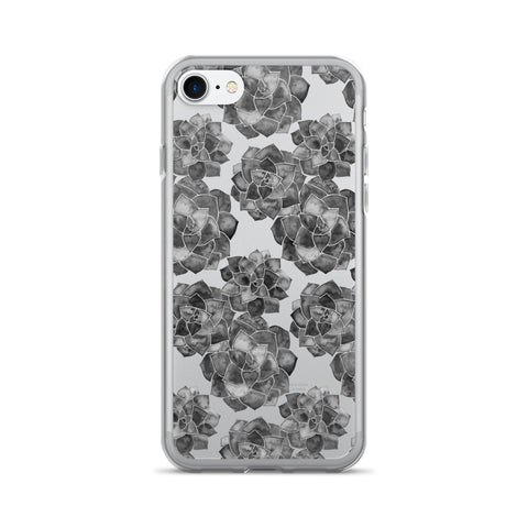 Rosette Succulents – Black Palette • iPhone 7/7 Plus Case (Transparent)