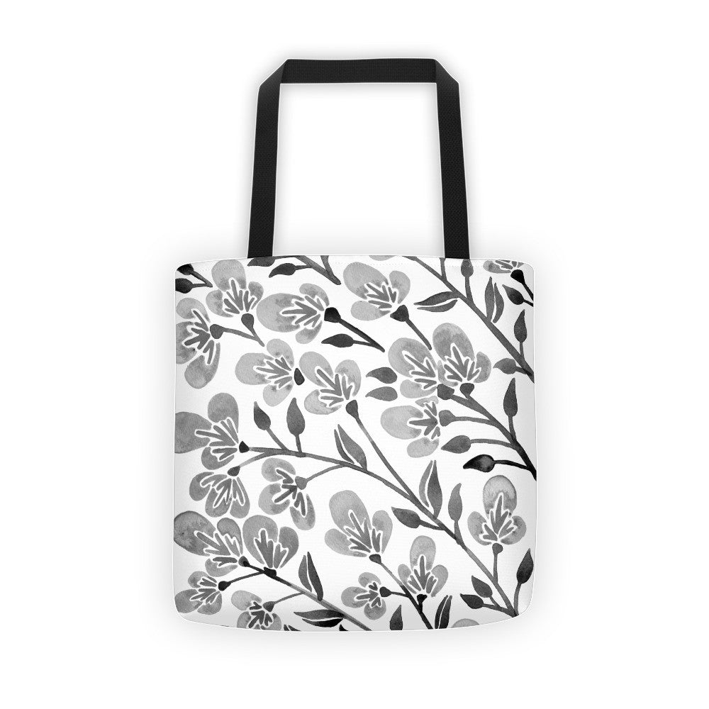 Cherry Blossoms – Grey Palette • Tote Bag