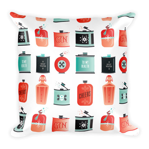 Flask Collection – Red & Mint Palette • Square Pillow