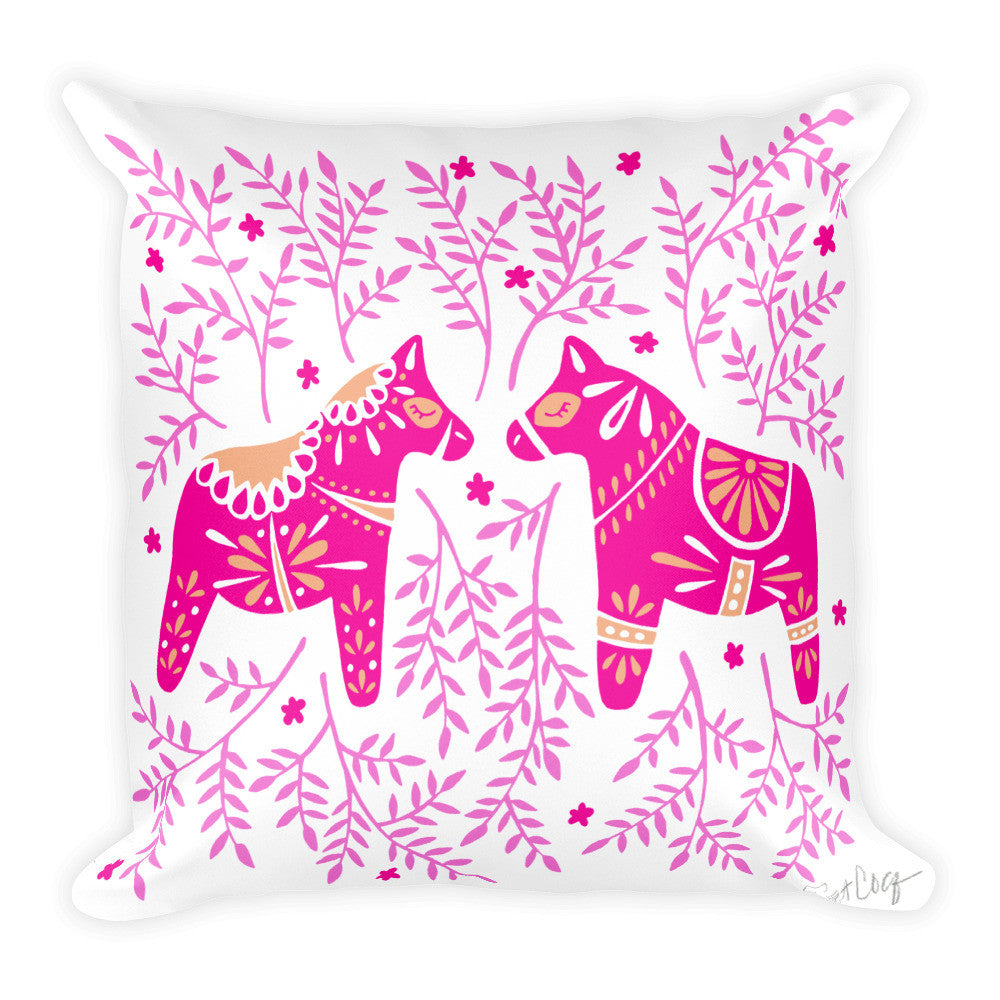 Swedish Dala Horses – Pink Palette  •  Square Pillow