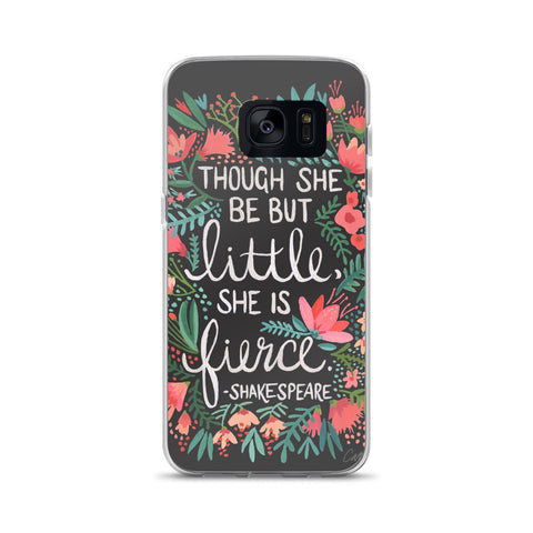 Little & Fierce – White Calligraphy on Charcoal • Samsung Case
