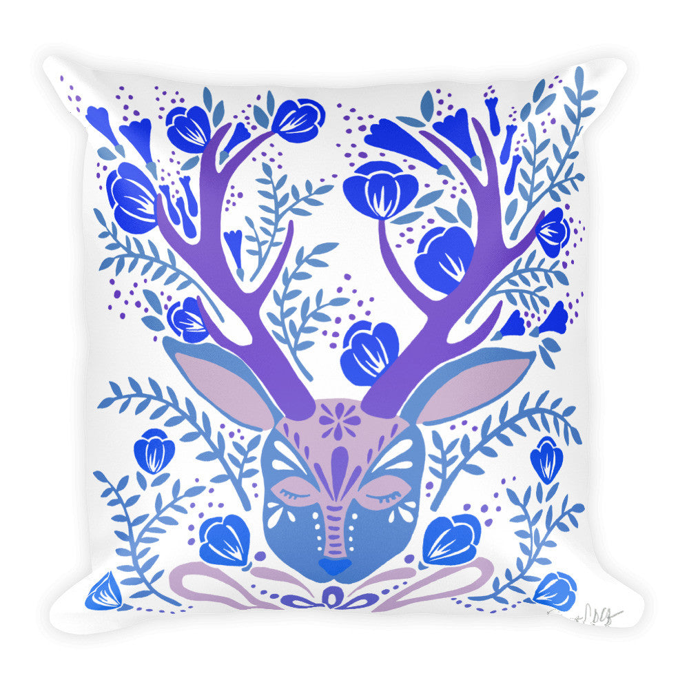 Floral Antlers – Blue Palette  •  Square Pillow
