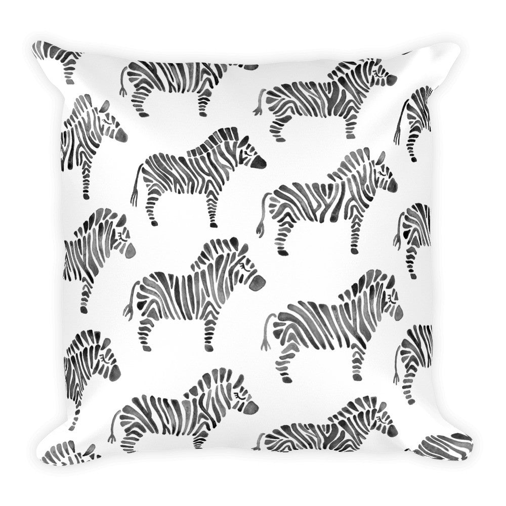 Zebra Collection – Black Palette  •  Square Pillow