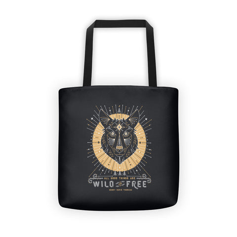Wild & Free Wolf – Grey & Gold Palette  •  Tote Bag