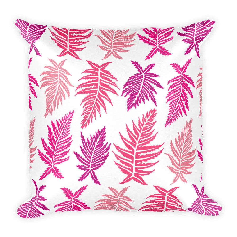 Inked Ferns – Pink Ombré Ink • Square Pillow