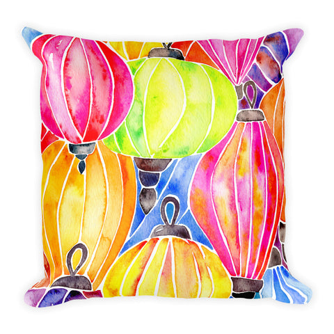 Vietnamese Lanterns – Rainbow Palette • Square Pillow