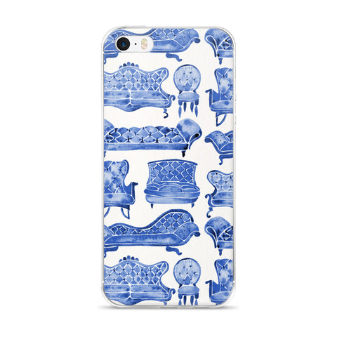 Victorian Lounge – Navy Palette  •  iPhone 5/5s/Se, 6/6s, 6/6s Plus Case