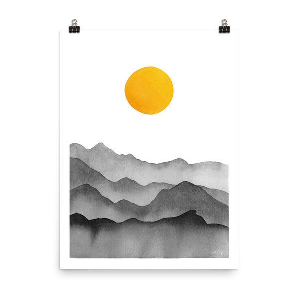 Mountain Range Silhouette – Black & Yellow
