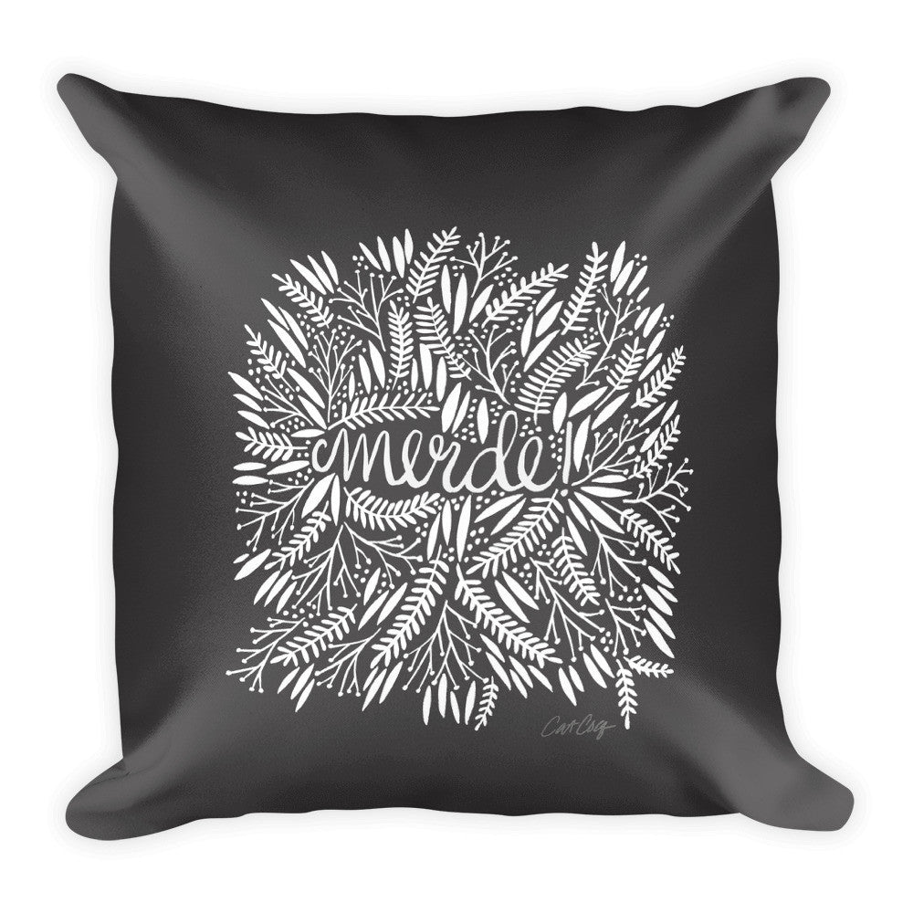 Merde – White Fronds on Black • Square Pillow