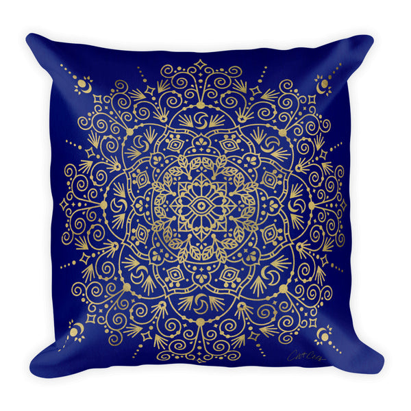 Moroccan Mandala – Gold on Navy • Square Pillow