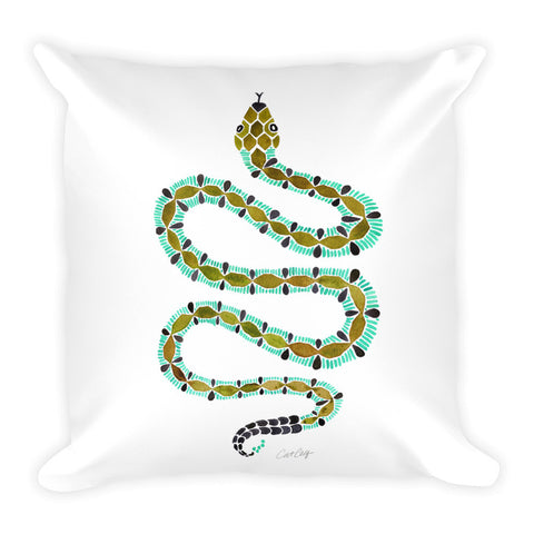 Serpent – Turquoise & Olive Palette • Square Pillow