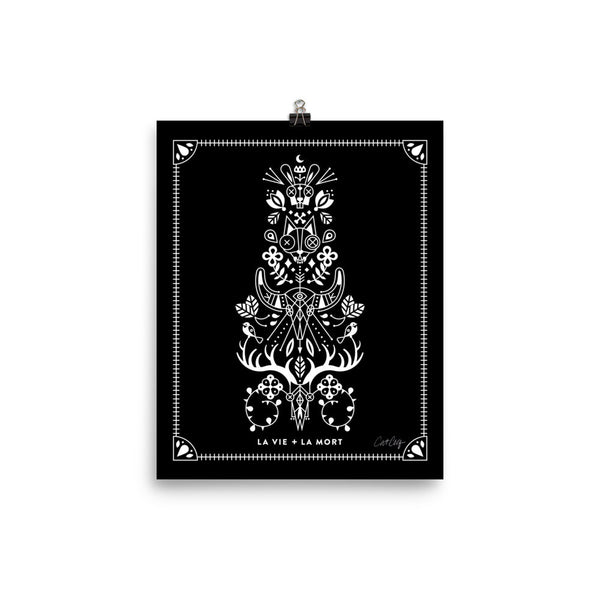 La Vie & La Mort – White Ink on Black Palette • Art Print