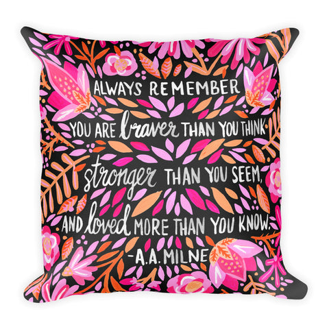 Always Remember – Pink on Charcoal • Square Pillow