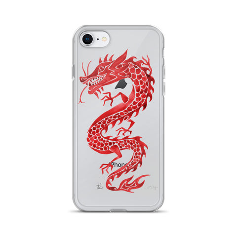 Chinese Dragon – Crimson Palette • iPhone Case (Transparent)