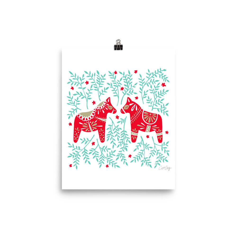 Swedish Dala Horses – Red & Mint Palette • Art Print