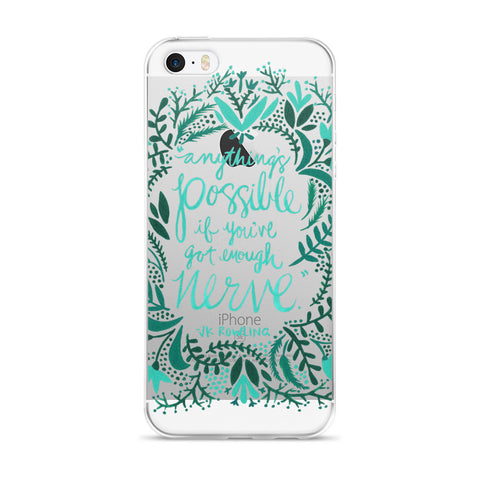 Anything's Possible – Turquoise & Teal Palette • iPhone 5/5s/Se, 6/6s, 6/6s Plus Case (Transparent)