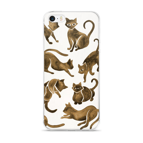 Cat Positions – Sepia Palette  •  iPhone 5/5s/Se, 6/6s, 6/6s Plus Case (Transparent)