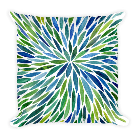 Watercolor Burst – Blue/Green Palette  •  Square Pillow