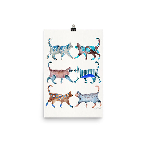Cat Collection – Blue & Brown Palette • Art Print