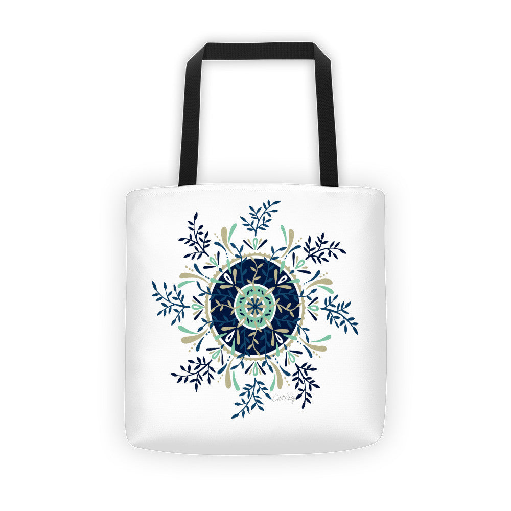 Leaf Mandala – Navy & Mint Palette  •  Tote Bag