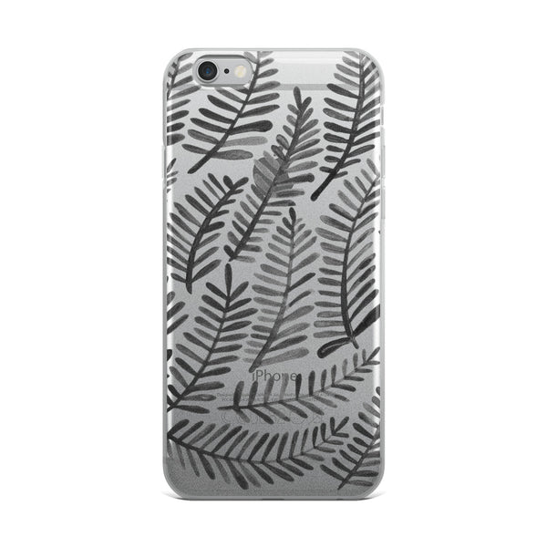 Fronds – Black Palette • iPhone Case (Transparent)