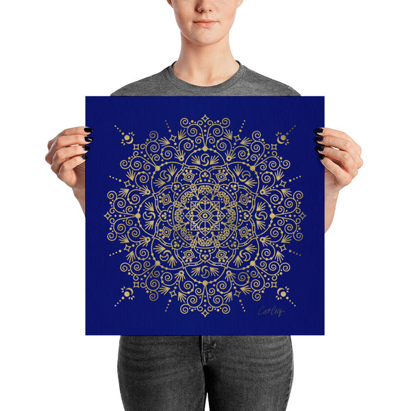 Moroccan Mandala – Gold on Navy • Art Print