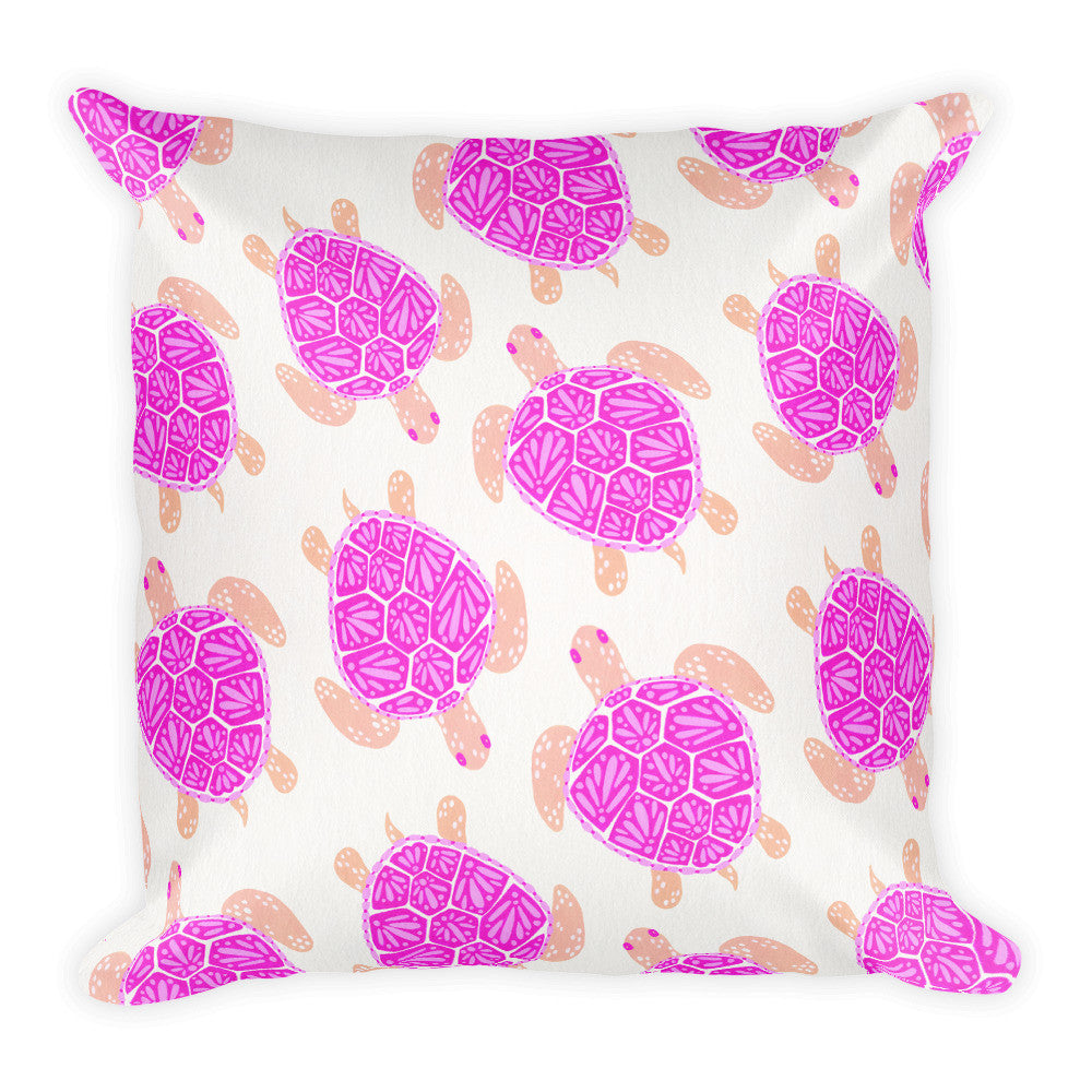 Sea Turtle – Pink Palette  •  Square Pillow