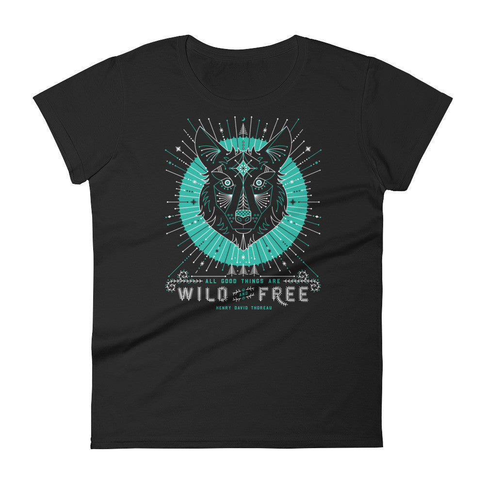 Wild & Free Wolf – Turquoise & Grey  •  Women's short sleeve t-shirt