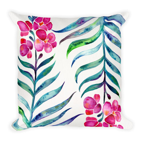 Orchid Bloom – Fuchsia & Indigo Palette • Square Pillow