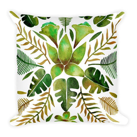 Tropical Symmetry – Olive & Green Palette • Square Pillow