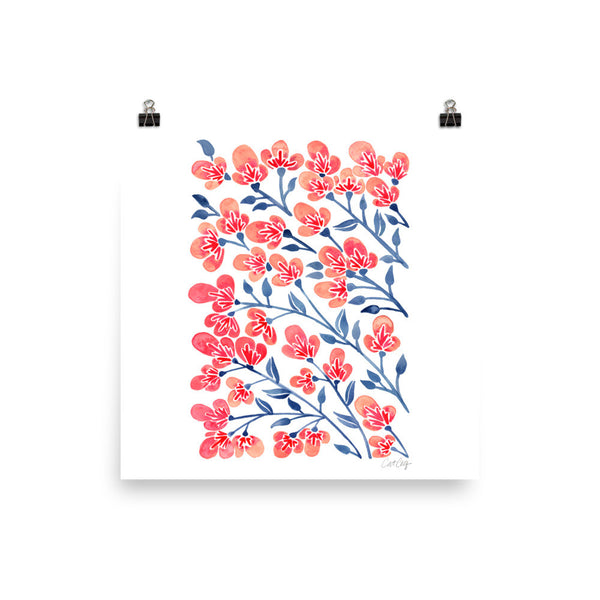 Cherry Blossoms – Melon & Navy Palette • Art Print